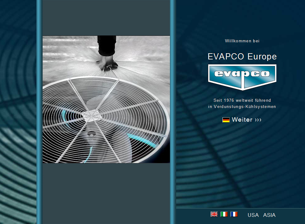 Screenshot www.evapco.de